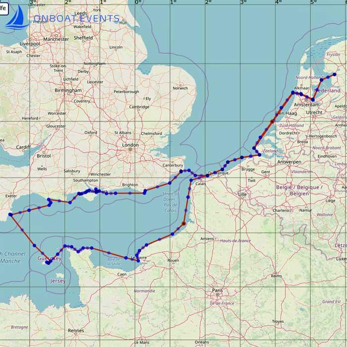 Seekarte Segeltörn - Normandie, Südengland mit Cornwell und Solent. Kanal-Querung Dover nach Calais