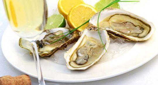 Sekt und Austern auf einem Teller. Catering und Fingerfood bei Hochzeit auf der Segelyacht