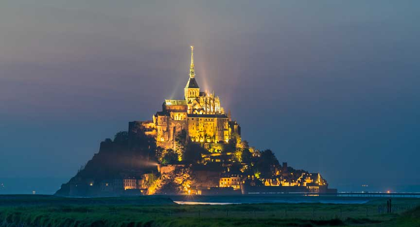 Mont Saint Michel, a famous island in Normandy, France