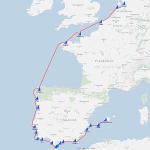Seekarte Segeltörn - Holland, Belgien. Nord Frankreich u. Spanien, Portugal und Mittelmmeer bis Balearen - Mallorca -
